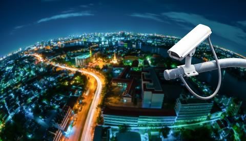 Security camera overlooking city